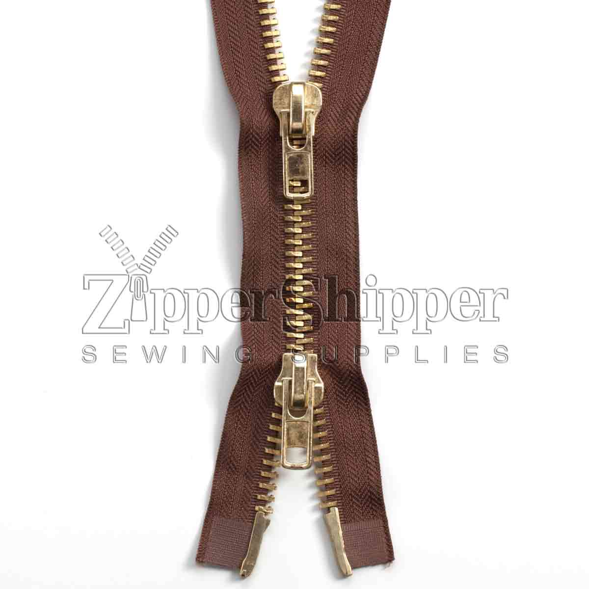 #10 Brass Heavy Duty Two-Way Separating (Jacket) Zipper - ZIPBR10-200