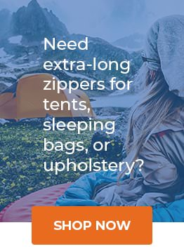 Extra long tent, sleeping bag and upholstery zippers for sale