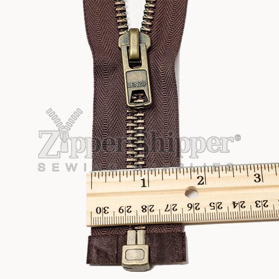 10 Antique Brass Heavy Duty Separating Jacket Zippers