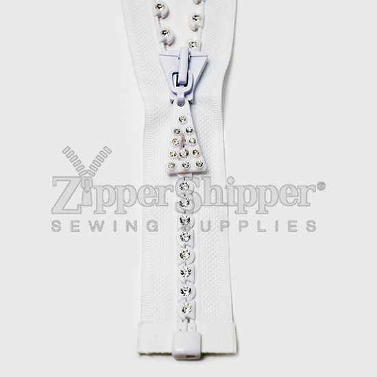 Rhinestone Large Stone Single Row Zipper (Closed-End and Separating)