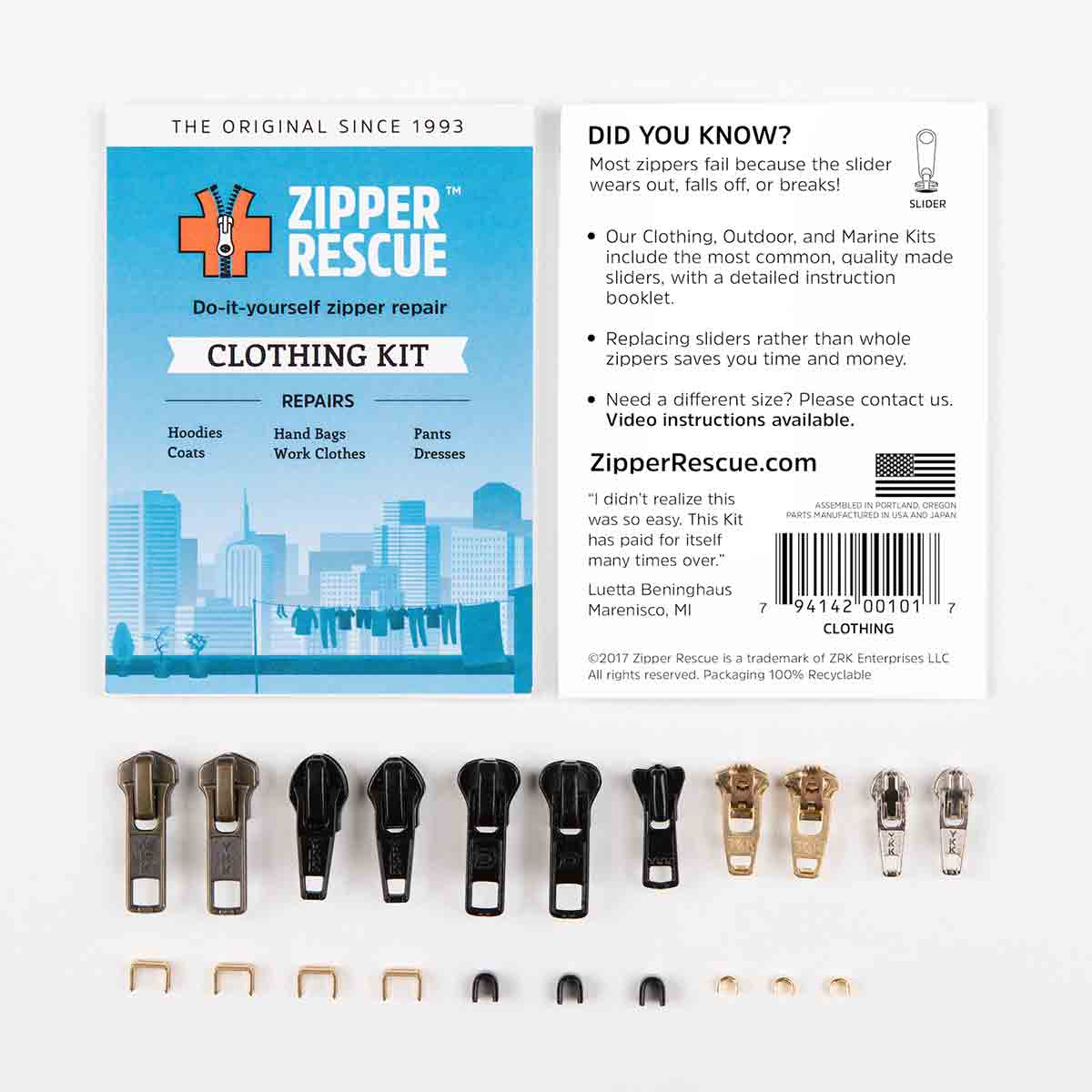 Zipper Rescue Repair Kit Clothing on Zipper Slider Replacement Parts
